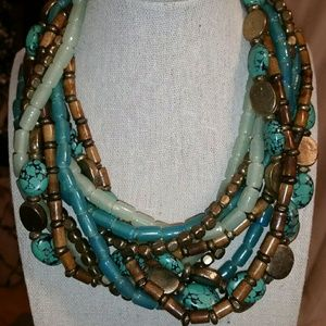 Jewelry - Sea Glass Green & Turquoise Statement Necklace